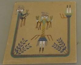 "Vintage Navajo Sand Painting Signed 12X12 ""Female Yei"" Yazzie - $29.70"