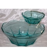 Vintage Anchor Hocking- 2 Tiered- 3 Pc Swedish Modern Aquamarine Chip & ... - $22.95
