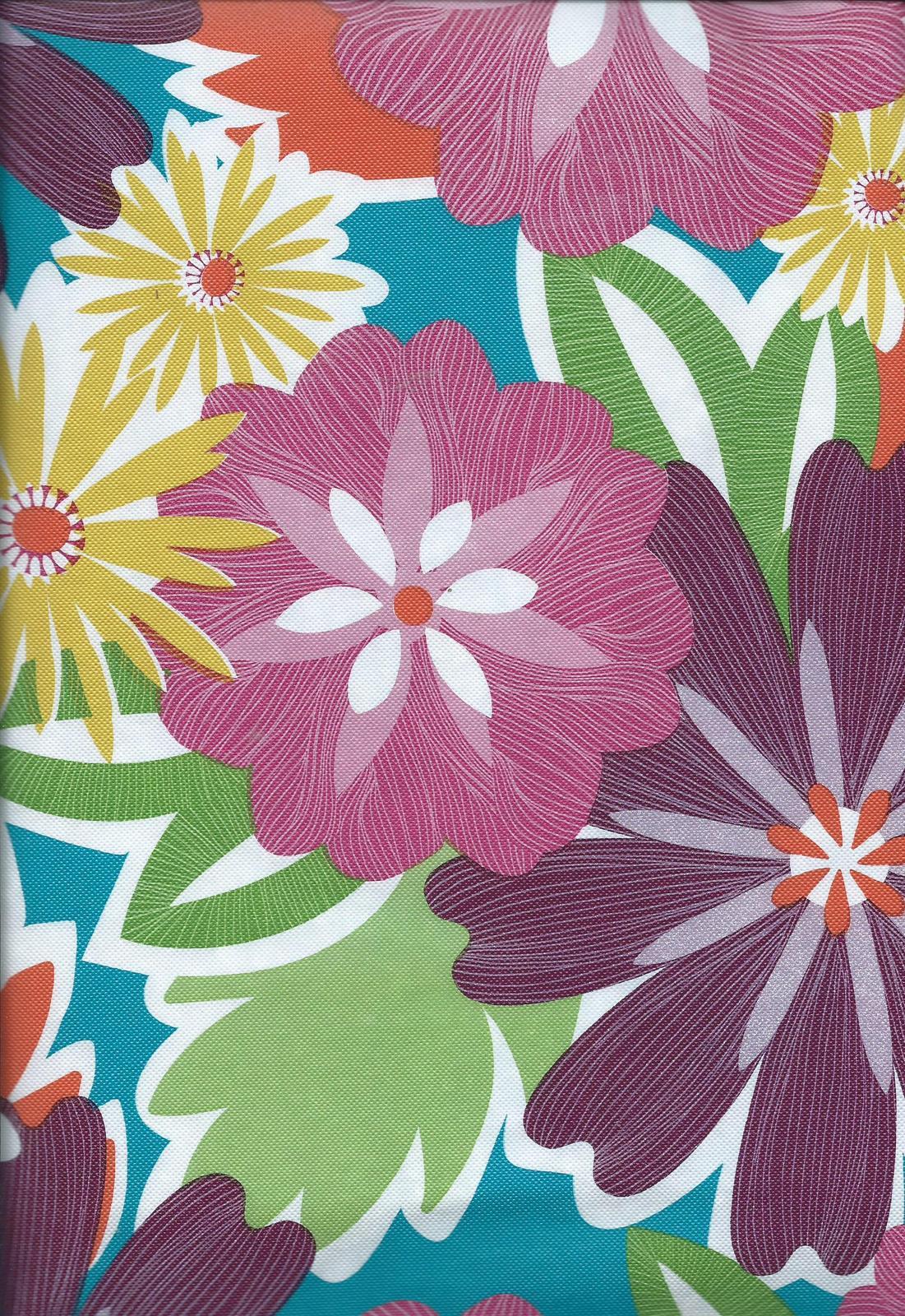 Twist Flower Purple Pink Yellow Vinyl Tablecloth Flannel Back - $10.99 - $12.99