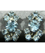 Gorgeous Vintage Pale Blue Prong Set Rhinestone Screw-back Earrings Non ... - $15.99