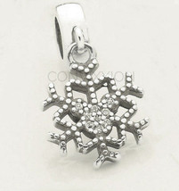 925 Sterling Silver European Charm Bead Snowflake Mickey Mouse Clear CZ Dangle - $19.95