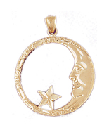 14K GOLD CHARM - MOON AND STAR #5614   - $348.00
