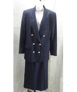 80s Liz Claiborne Classic Double Breasted Blue Career Suit Blazer/Pencil... - $19.99