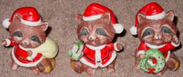 Figurines 3 Raccoon Santa Figurines Homco #5611 Collectibles - $3.00