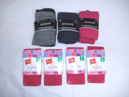 New Lot of 7 George & Hanes Tights Pink, Black ... - $18.95