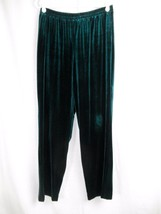 R&M Richards Emerald Green Velvet Lounge Pants 14Petite Elastic Waist 27... - $14.95