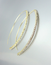 CHIC & STYLISH Thin GOLD Rhinestone Crystals Metal Wire THREADER Dangle ... - $17.99