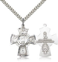 FIVE WAY MEDAL - Sterling Silver Pendant on a 24 inch Light Rhodium Heavy Chain - $51.99