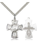 FIVE WAY MEDAL - Sterling Silver Pendant on a 24 inch Light Rhodium Heav... - $51.99