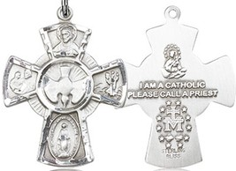 FIVE WAY MEDAL - Sterling Silver Pendant on a 24 inch Light Rhodium Heavy Chain image 2