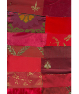 Victorian Crazy Quilt Kit Shades of Red Brocade Silk Velvet Lace Trim Beads - $19.99