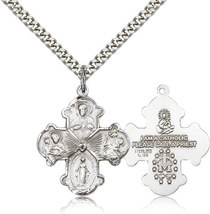 FOUR WAY MEDAL- Sterling Silver Medal Pendant - 0042