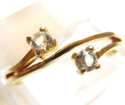 Vintage 14Kt Ge Espo Yellow Gold Plated Ever Us Cubic Zirconia 2 Stone R... - $11.24