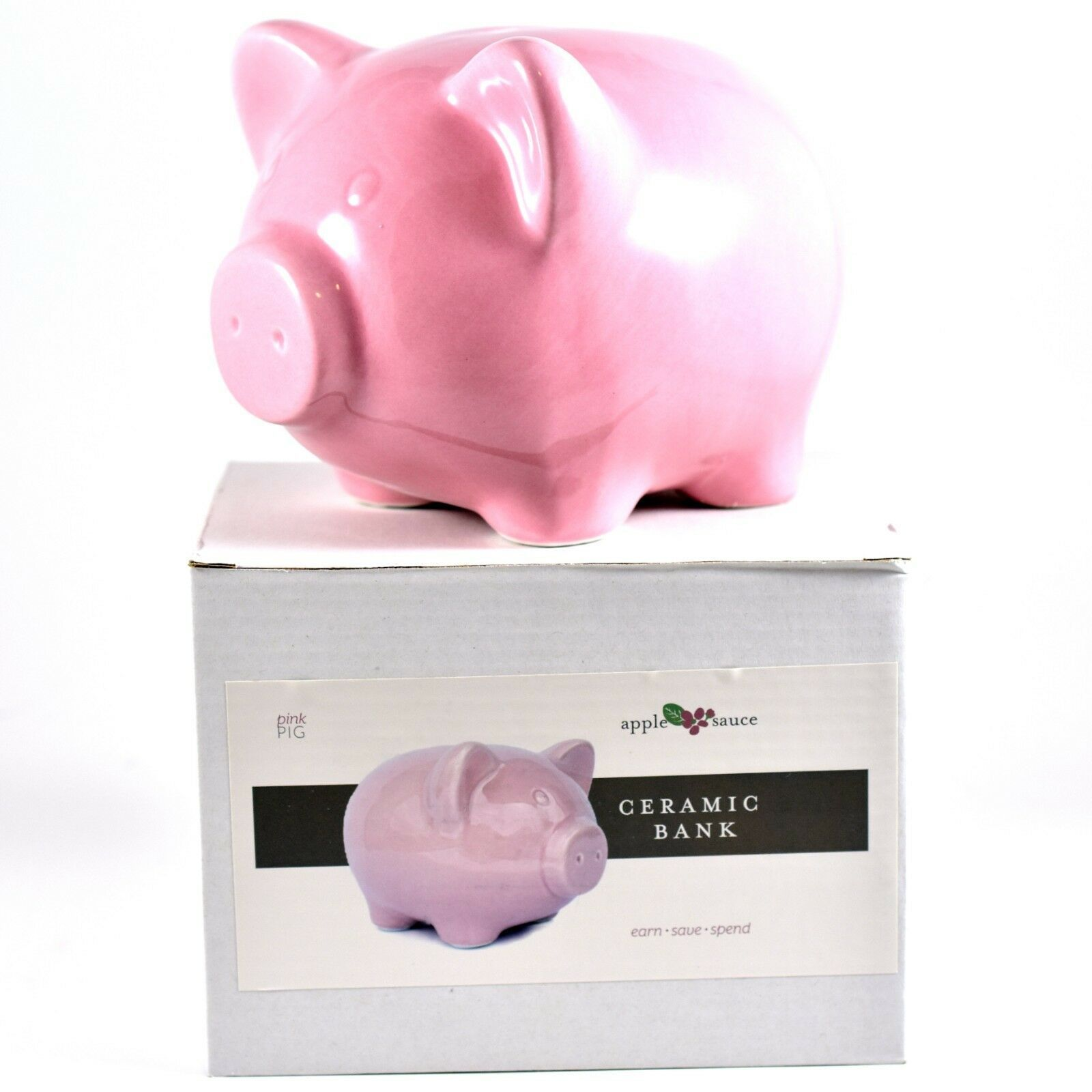 Applesauce Pink Pig Baby Ceramic Still Piggy Savings Bank