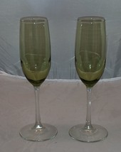Pair of  Green Tinted White Wine/Champagne Glasses - $9.95