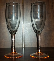 Pair of Peach Stem White Wine/Champagne Glasses - $9.95