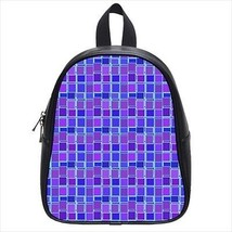 Tripy Geometric Squares Leather Kid's School Bag / Children's Backpack - $33.94+