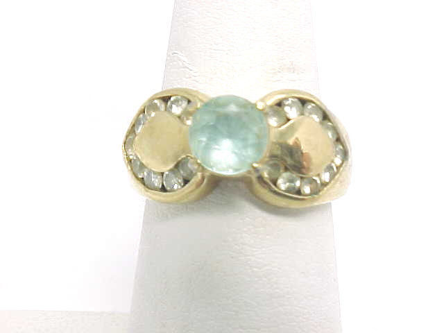 BLUE and WHITE TOPAZ Vintage RING in 14K Gold on Sterling Silver - Size 6