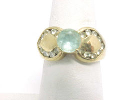 BLUE and WHITE TOPAZ Vintage RING in 14K Gold on Sterling Silver - Size 6 - $65.00
