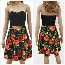 Fashion Beach Party Cocktail Strapless Fit & Flare Pleated Dress with Belt - $5.99