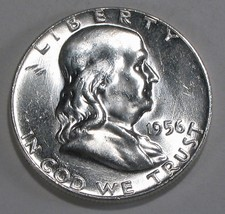 1956 P Franklin Silver Half Dollar  Brilliant White Coin with Great Bell... - $27.95