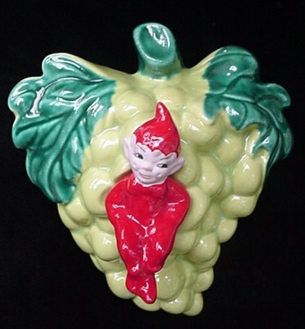 Old Gilner Ca. Art Pottery Red Pixie & Grapes Wall Pocket Wallpocket Elf Brownie