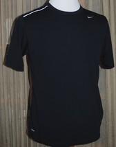 NIKE Fit Dry Mens M Medium Short Sleeve Fitness Shirt T-Shirt Black Reflective - $24.74