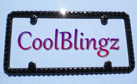 Big JET BLACK Rhinestone Crystal Bling License Plate (Black Metal) Frame + Caps - $25.95