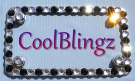 Clear Crystal & Black MOTORCYCLE Rhinestone Bling License Plate Frame + ... - $24.95