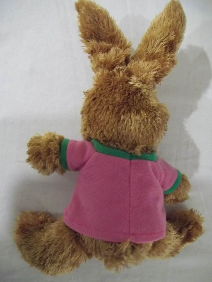 """Galerie 8""""  Brown Bunny Plush with Green M&M Shirt -Like New"""