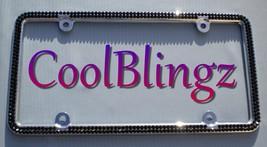 2 Row JET BLACK Rhinestone Crystal Sparkle Bling License Plate Frame - $32.95