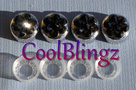 JET BLACK Crystal Screw Caps for License Plate Frame made w/ Swarovski Elements - $7.95