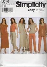 Simplicity 5070 Easy Dress Top Shirt Pants Vest Jacket Sz 10-18 UNCUT   - $5.50