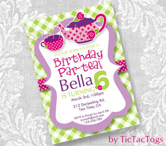 Green Gingham Tea Party Pink Rose Birthday Party Invitations Invite Pers... - $9.99
