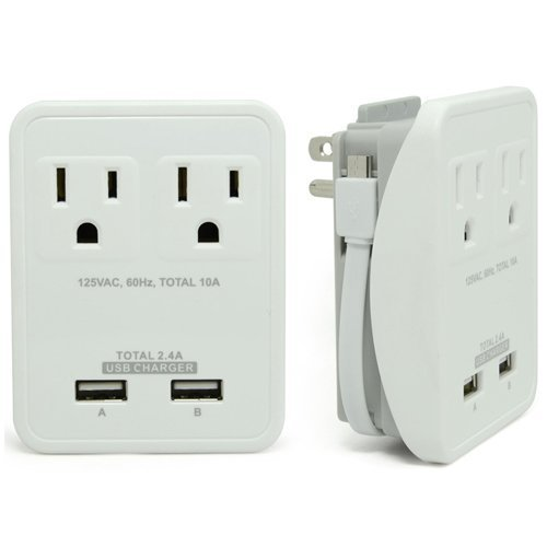 RND Compact Power Station 2.4 Amp Dual USB Ports, 2 AC Outlet Wall Charger wi...