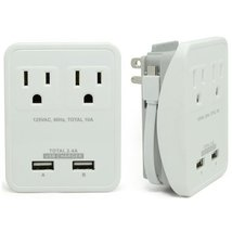 RND Compact Power Station 2.4 Amp Dual USB Ports, 2 AC Outlet Wall Charg... - $16.99