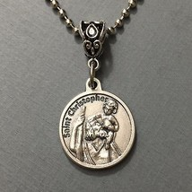 "Saint Christopher 3/4"" Round Medal Pendant Protector Patron of Safe Travelers  - $11.99"