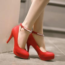 pp029 Korean style pump with pearl red, pu leeather, 35-42, red - $48.80