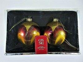 """Old Navy Glass Ornaments 2 Count Glittery Gold Amber Orange 3.5"""" Diamete... - $19.79"""