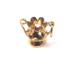 18k Yellow Gold Vintage Flower Vase Bowl Charm - $120.61