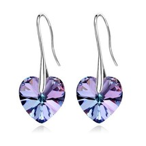ANNGILL Korean Crystals From Swarovski Heart Dangle Drop Earrings Fashio... - $10.14
