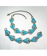 Estate Vintage Faux Turquoise Enameled Leaf Necklace & Bracelet Set C2533 - $28.93
