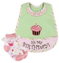 Baby Girls Birthday Bib and Sock Set - $16.00