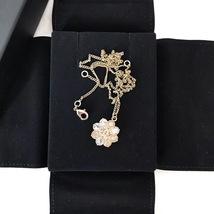 100% AUTH CHANEL CC LOGO CAMELLIA FLOWER GOLD PENDANT NECKLACE RARE image 2