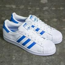 Adidas Originali Superstar Scarpe Sportive Uomo in pelle - Bianco/Blu - ... - $93.86
