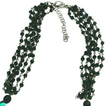 """NECKLACE BLACK, GREEN SPOTTED DROP OVAL MURANO GLASS 45cm 18"""", MADE IN ITALY image 3"""