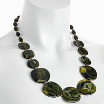 Green tone resin pebble shape bead necklace costume jewellery - $13.35