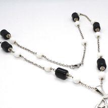 Silver necklace 925, Onyx Black Tube, Locket Stars and Circles Pendant image 4