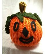 HALLOWEEN Decor - Hand-Crafted Crocheted Stuffed Pumpkin Jack-o-Lantern - $13.81