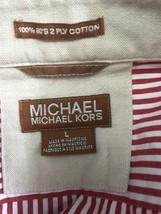 #H12 Mens MICHAEL KORS Red Striped Shirt Long Sleeve Button Front Cotton... - €9,70 EUR